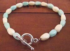 BRACELET Bicolore blanc & bleu turquoise * Perles  Verre * fabrication main Fr