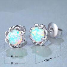 925 Silver Sweet White/Pink/Purple/Blue Round Fire Opal Stud Earrings Jewelry#ch