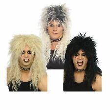 Adults 80s Hard Rocker Glam Metal Rockstar Wig Slash Kiss Fancy Dress Accessory