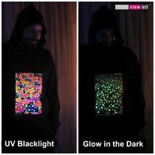 Men's Hoodie Psychedelic Mushrooms UV Black Light Fluorescent Glow In The Dark