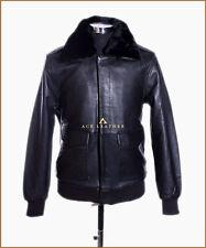 A2 Bomber Black Mens Fur Colar Vintage Aviator Lambskin Leather Jacket