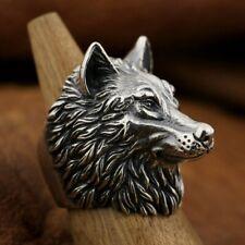 Huge Heavy 925 Sterling Silver 3D Wolf Ring Mens Biker Punk Animal Rings TA90B