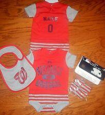 Washington Nationals Newborn Infant Jersey Bib  Bootie Set add any name & number