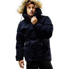 FUERZA Mens Winter Premium Down Wellon Raccoon Hooded Parka Jacket - Dark Navy