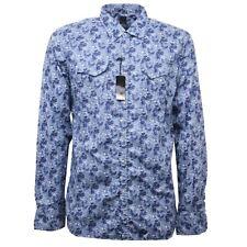 C2570 camicia manica lunga uomo NBL blu azzurro shirt long sleeve men