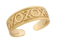 Hugs Kisses Medium Designer Toe Band 10k or 14k Real Yellow Gold Xoxo
