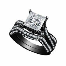 2.38 Ct White Princess Diamond Bridal Set Gothic Silver Ring