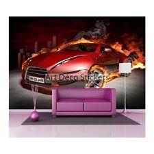 Stickers muraux géant déco : Voiture en flamme rouge 1476