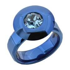 Blue Tungsten Stainless Steel Blue Round Simulated-Aquamarine Men's Wedding Band