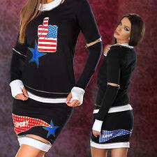 Damen 2-Teiler Damenrock Damenshirt Minirock American Pullover Rock XS-M