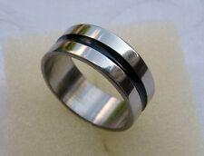 Edelstahlring mit einem schwarzen Emaille-Streifen, 8mm breit, poliert, Ring