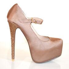 Decoltè donna scarpe cinturino tacco alto plateau elegante cerimonia strass 20B
