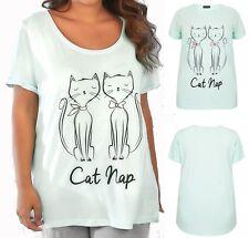 Womens Plus Size 100% Pure Cotton Vest 'Cat Nap' Short Sleeve Pyjama Top 14-28
