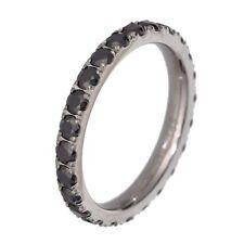 Titanium Black Round Cubic Zirconia Eternity Band Women's Wedding Ring