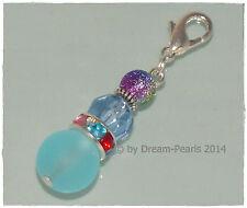 ♥ Dream-Pearls Charm Anhänger Regenbogen Glas Strass rot blau grün lila ♥ AH326