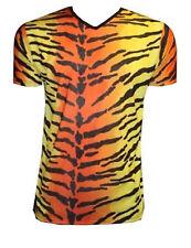 MEN'S TIGER ANIMAL PRINT T-SHIRT TOP FANCY DRESS COSTUME GOTH PUNK EMO HALLOWEEN