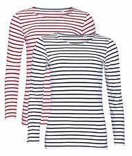 Ladies Womens Womans Marine BLUE or RED Long Sleeve Striped Tshirt Tee Shirt