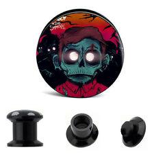 "PAIR Zombie Boy Ear Gauges Ear Plugs Flesh Tunnel Acrylic SCREW 6g - 5/8"""