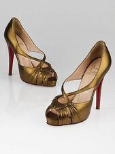 $895 NEW Christian Louboutin SCISSOR GIRL 120 Leather Bronze Platform Shoes 39.5