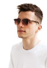 Sunglasses Brown Half Frames Gradient Tinted Lenses Retro Classic Mens Womens