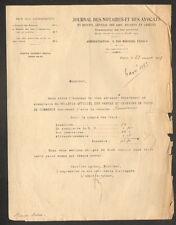 """PARIS (VI°) IMPRIMERIE / PRESSE """"JOURNAL DES NOTAIRES & AVOCATS"""" en 1929"""