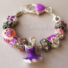 Pink And Purple European Charm Bracelet With Rhinestone, Hearts, Cupcake Charms