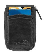 WalletBe Men's Leather Zipper Front Pocket RFID Thin Wallet (Inner ID)