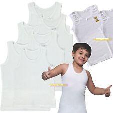 Boys Children Plain White Vest 100%Cotton Sleeveless Summer Tank Top School Wear