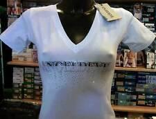 T-shirt maglia donna Angel Devil scollo a V con stampa logo e strass art TD11
