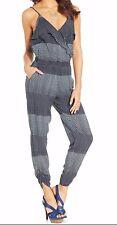 Jessica Simpson Brenden Black Shadow Dot V-Back Ruch Leg Jumpsuit w/Pockets $69