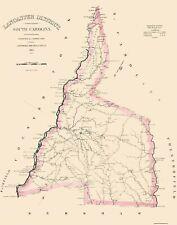 Old County Map - Lancaster South Carolina Landowner - Mills 1825 - 23 x 29.25