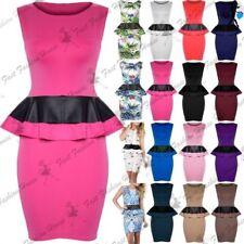 Women Mini Dress Ladies Floral Print Peplum Frill Bodycon Sleeveless PVC Leather