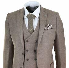Mens Wool 3 Piece Suit Double Breasted Waistcoat Tweed Peaky Blinders 1920s