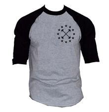 Men's Barbell Star Emblem Gray Baseball Raglan T-Shirt Workout Fitness Gym V397