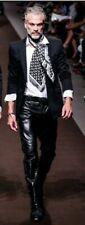 New men`s leather pants black Designer Motorcycle Biker pants trousers - FLP074
