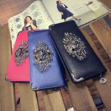 New Womens Vintage PU Leather Long Punk Zipper Skull Wallet Purse Clutch Purse D
