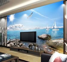 3D Sun Stone Dolphins 589 Wall Paper Wall Print Decal Wall AJ WALLPAPER CA