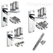 Chrome Internal Door Handle Sets - Latch Lock Bathroom Door Handle Packs