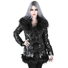 Killstar Gothic Goth Jacke Winterjacke Puffer Mantel - Lucine Kunstfell