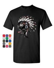 Skull With Indian Headress T-Shirt Headphones Cigar Cotton Tee