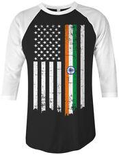 Indian American Flag Unisex Raglan T-Shirt India Descent US Pride