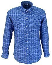 Relco Azul Estampado Retro 100% Algodón Manga Larga Retro Mod con Botones Camisa