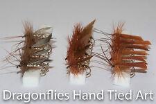 18 Dry Fishing Flies Caddis  Brown Silver Horn ,Brown Sedge,Silver Wing Sedge