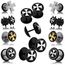 Earstuds Earring Cross Crucifix Steel Acryl Fakeplugs Piercing 8-12mm Plug Fake