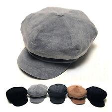 Unisex Mens Womens Velvet Suede Baker Boy Cabbie Gatsby Flat Cap Newsboy Hats