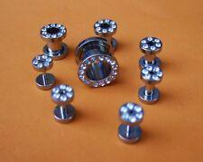 Chirurgico Flesh Tunnel Acciaio Chirurgico 316l Plug Piercing Orecchio cristalli chiaro, 1,2mm-10mm