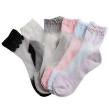 Pop  Women Lace Ruffle Ankle Sock Soft Comfy Sheer Silk Cotton Elastic Socks JJ