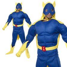 Bananaman Costume Superhero Banana Man Adult Fancy Dress 80s New