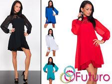 Womens Shift Dress Lace Crew Neck Tunic Long Sleeve Mini Dress Sizes 8-16 FK1280