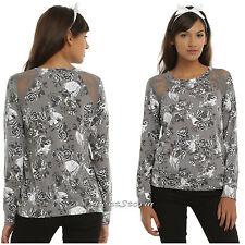 NEW Disney Princess Floral Lace Ladies Pullover Top Sweatshirt Blouse JRS XS-L